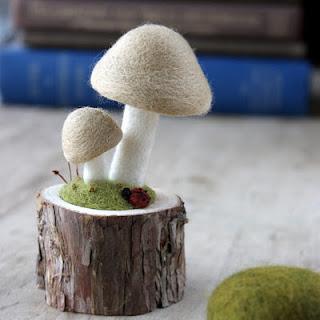 funghi fai da te con lana cardata