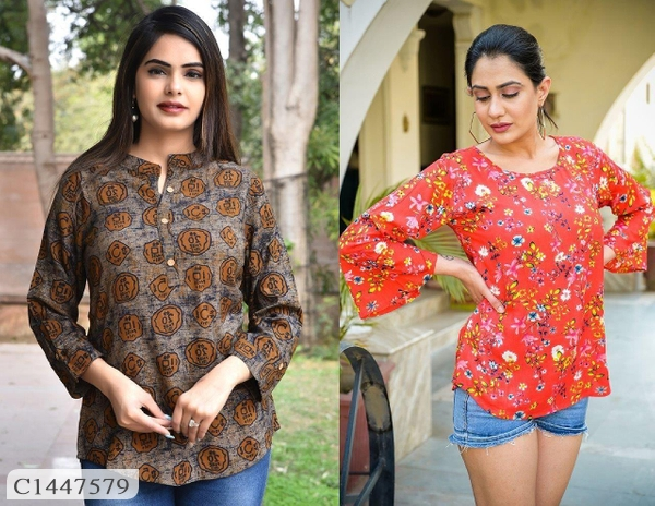 Buy 1 Get 1 Free Rayon Floral Prints Tops For Women Online Shopping | Pack of 2 Top For Women Online Shopping |  Combo of 2 Tops For Women Online Shopping | Womens Top Online Shopping | Womens Top Online | Top For Women Online Shopping | Best Top For Women | Womens Top | Online Shopping in India | Online Shopping | Best Shopping Website India |