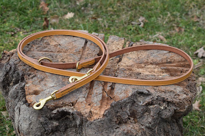 Adjustable training leash handmade using london tan bridle leather suitable for size small and medium dogs