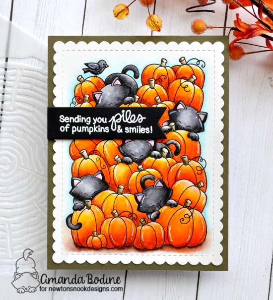 Cats in Pumpkin Patch Card by Amanda Bodine | Newton's Pumpkin Patch Stamp Set by Newton's Nook Designs #newtonsnook