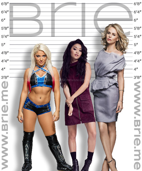 Lana Condor height comparison with Alexa Bliss and Charlize Theron