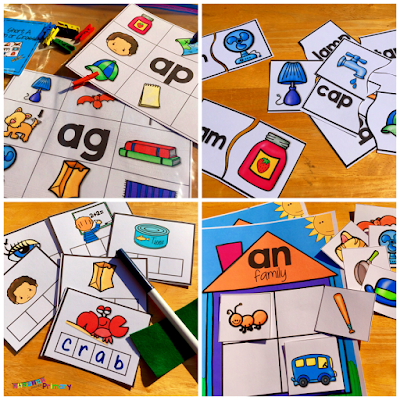 Use short vowel literacy centers that cover many of the short vowel word families to provide independent practice during literacy center time.