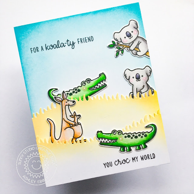 Sunny Studio Stamps: Outback Critters Slimline Dies Critter Themed Friendship Card by Ashley Ebben