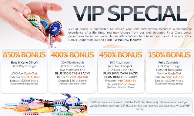 the virtual casino coupon codes
