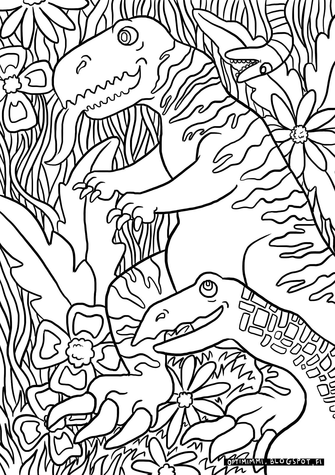 Coloring book varityskuvat - A Coloring Page Of Dinosaurs In A Jungle V Rityskuva Dinosauruksista Viidakossa