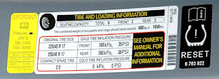 tire pressure stickers