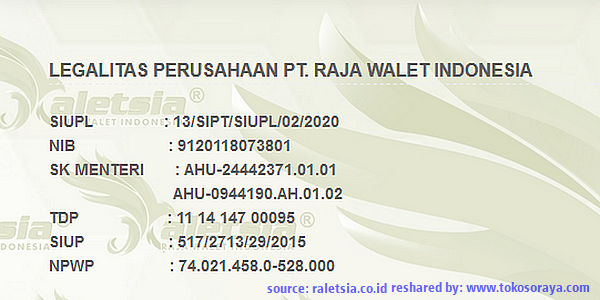 Legalitas PT. Raja Walet Indonesia Raletsia