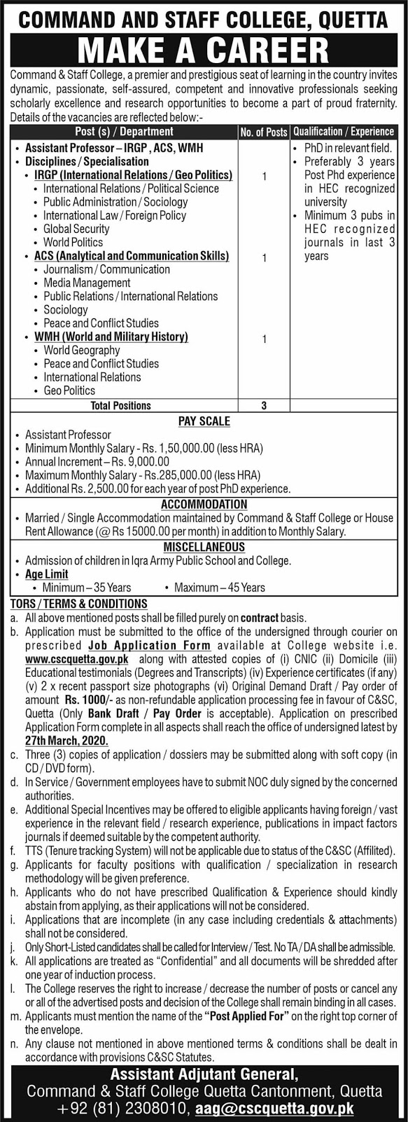 Make A Career Command and Staff College Quetta