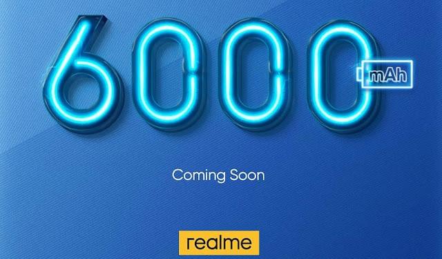 ريلمي تنشر صورة تشويقية لهاتف ببطارية 6000 ميلي امبير