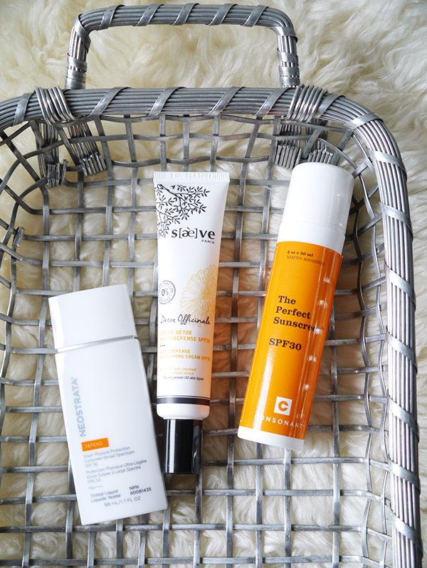 Natural and mineral sunscreens from NeoStrata, Saeve and Consonant