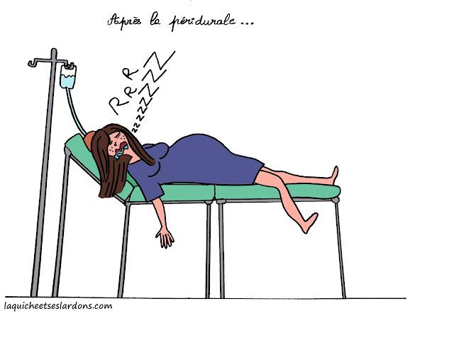 récit dessin bd de maman dormir hopital salle accouchement peridurale grossesse drole humour