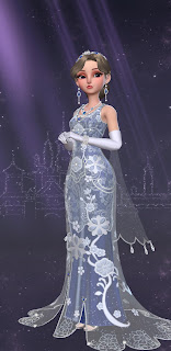 Yuko in an elaborate royal blue gown resembling Anastasia's opera dress