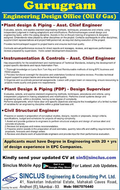 Gurugram, Sinclus Jobs, Plant Design  & Pipeing Engineer, Instrumentation & Controls Engineer, Civil Structural Engineer, Instrumentation Jobs, Instrumentation Engineer, Civil Jobs, Civil Engineer,