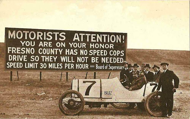 Vintage road sign. Motorist attention! You are on your honor. Fresno County has no speed cops drive so they will not be needed.