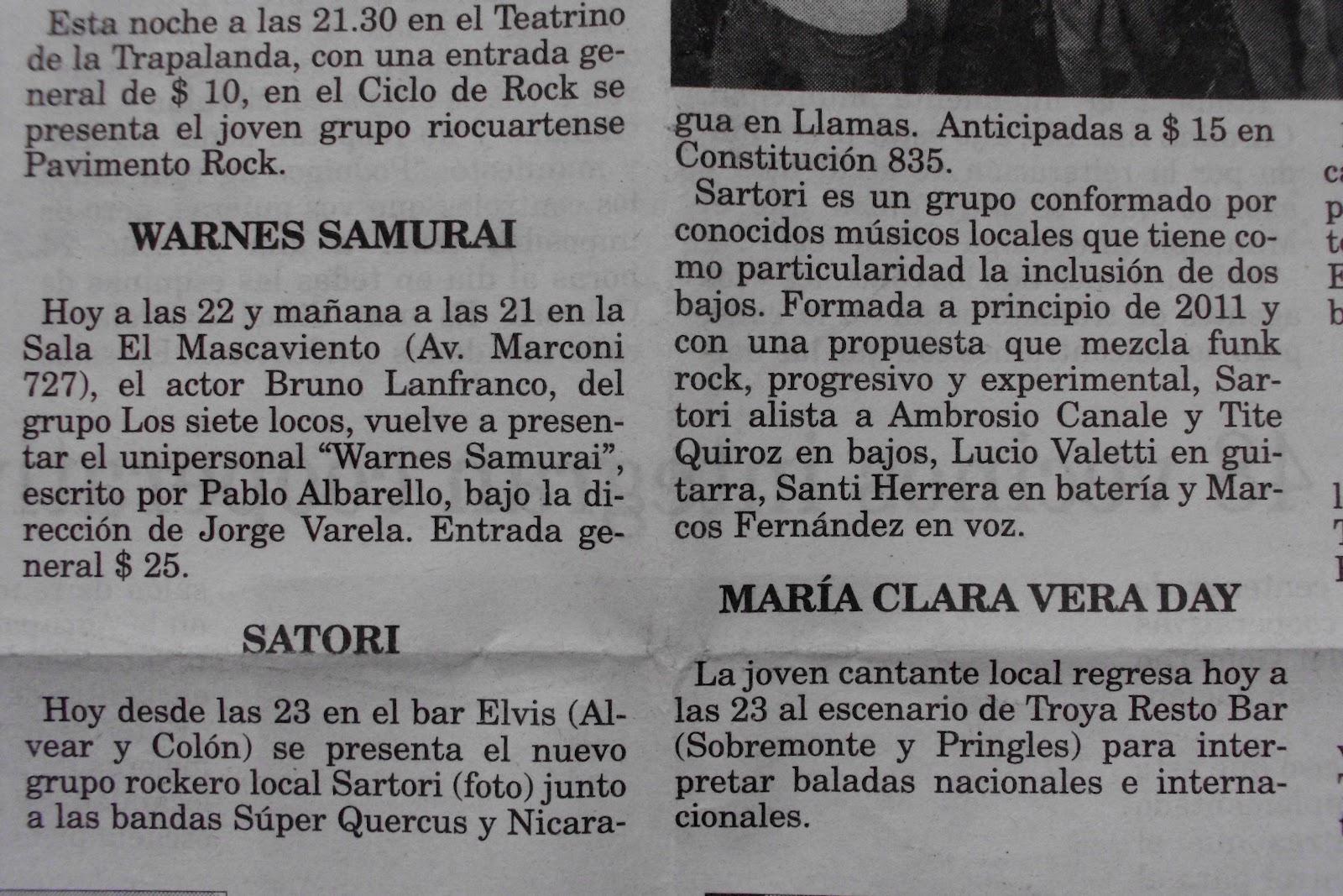 Proyecto Rock Río Cuarto: Diario Puntal - Debut Satori 2011