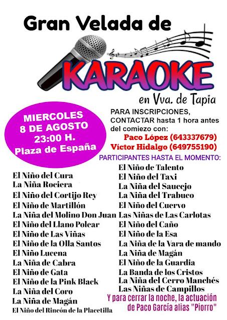 Gran Velada de Karaoke en Villanueva de Tapia