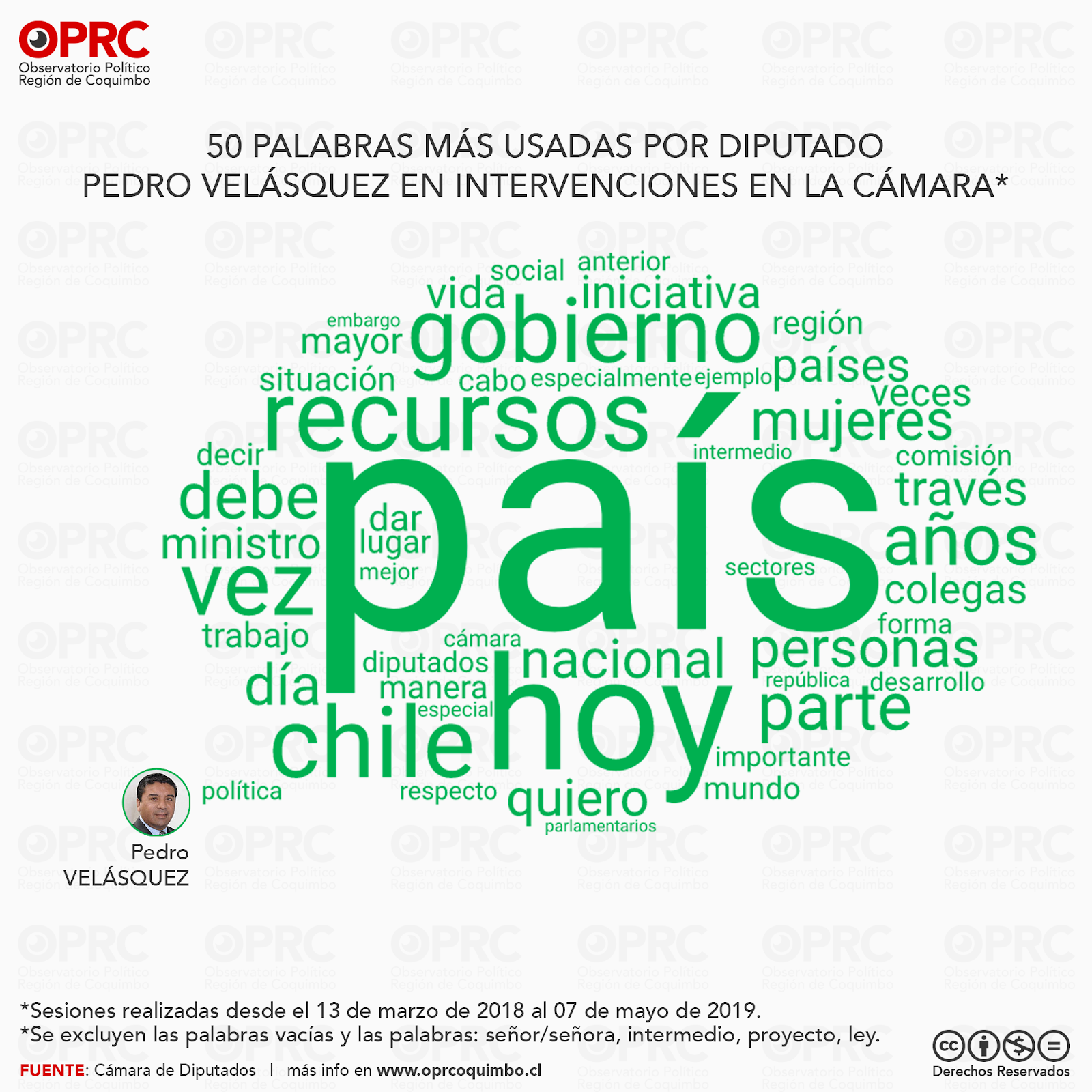 Palabras más usadas por Diputado Pedro Velásquez en intervenciones en Sala