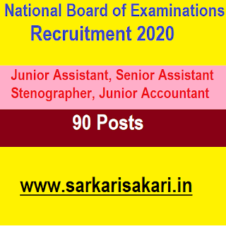 National Board of Examinations Recruitment 2020- Assistant/ Stenographer/ Accountant (90 Posts) APply Online