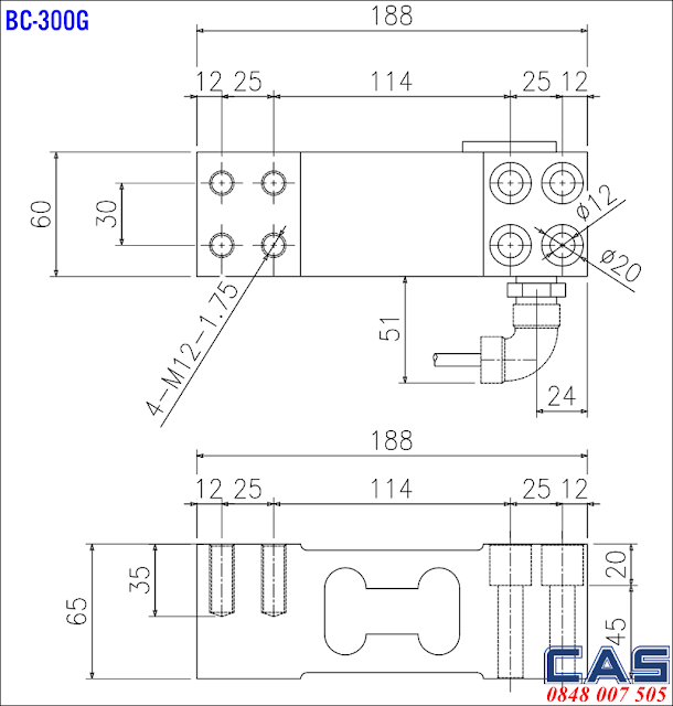 Loadcell BC-300G Dimension