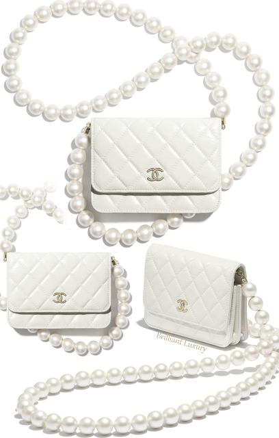 Chanel white mini wallet on pearl chain bag #brilliantluxury