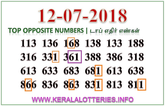 Karunya Plus KN-221 Best Opposite Numbers Kerala lottery guessing by keralalotteries