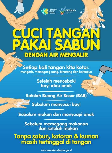 Poster Tentang 6 Waktu Cuci Tangan dengan Sabun dan Air Mengalir yang Tepat untuk Cegah COVID-19