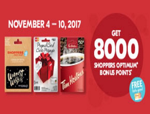 Shoppers Drug Mart Holiday Gift Card Optimum Offer