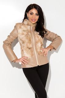 Jacheta din piele ecologica si blanita