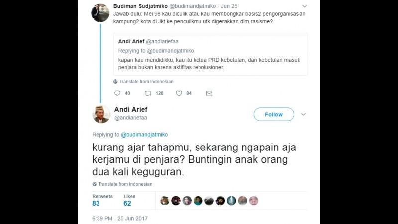 Kicauan Andy Arief menuding Budiman Sudjatmiko