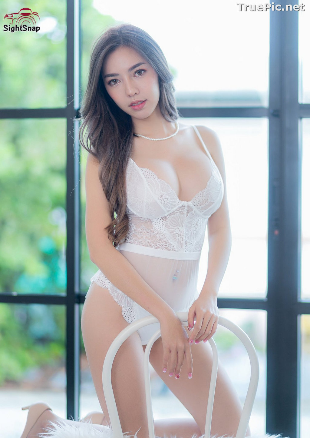 Image Thailand Sexy Model – Champ Phawida - Transparent White Lingerie - TruePic.net - Picture-4