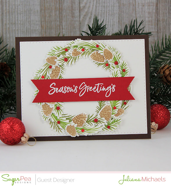 Season's Greeting's Christmas Card by Juliana Michaels featuring Pine Cone Greetings by Sugar Pea Designs