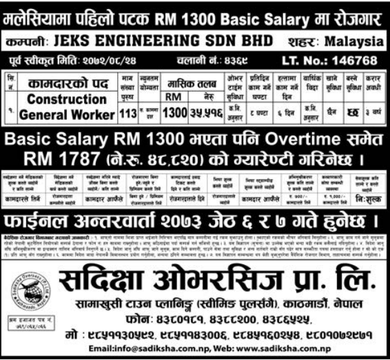 Jobs For Nepali In Malaysia, Salary -Rs.35,516/