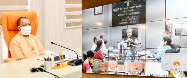 मुख्यमंत्री योगी की केन्द्रीय कृषि एवं किसान कल्याण मंत्री के साथ एग्रीकल्चर इन्फ्रास्ट्रक्चर फण्ड के सम्बन्ध में आयोजित वीडियो कॉन्फ्रेंसिंग सम्पन्न