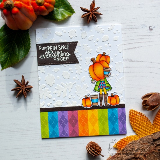 Pumpkin Spice Coffee Card by Zsofia Molnar |  Pumpkin Latte Stamp Set and Falling Leaves Stencil by Newton's Nook Designs #newtonsnook #handmade