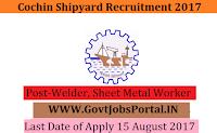 Cochin Shipyard Recruitment 2017– 198 Welder, Sheet Metal Worker