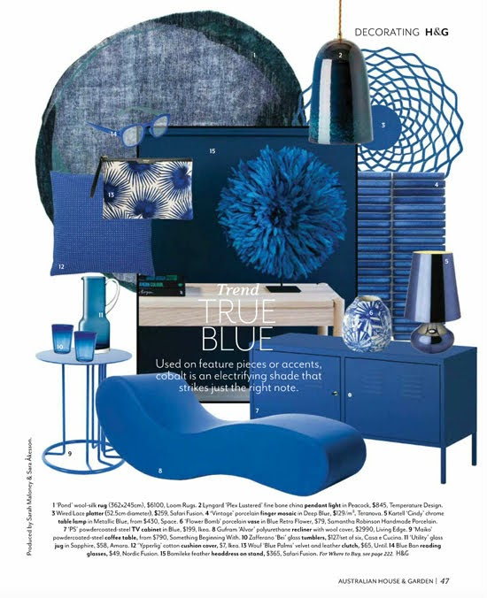 Safari Fusion blog | Australian House & Garden | September 2018 | Decorating Trend: True Blue