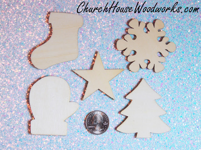Wooden Christmas Ornaments- Stocking, Snowflake, Star, Mitten, Christmas Tree