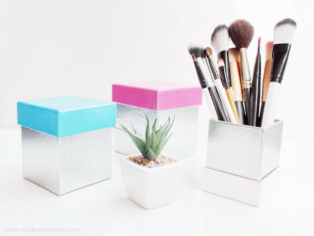 DIY Faux metallic storage boxes with colorful lids