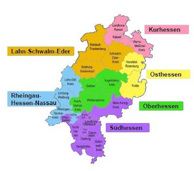 Climbing My Family Tree: Map of Hessen, Germany