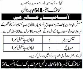 Jobs in Commanding Officer 640 Mujahid Battalion May 2020