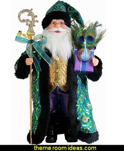 peacock themed Sequin Santa Claus Christmas Figurine  peacock christmas decorating