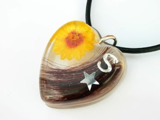 Personalised hair and sunflower pendant