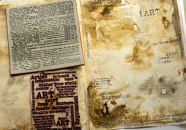 Layers of ink - Happy Art Journal Page Video Tutorial by Anna-Karin Evaldsson. Stamp the background.