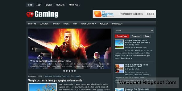 Gaming Free WordPress Gaming Theme