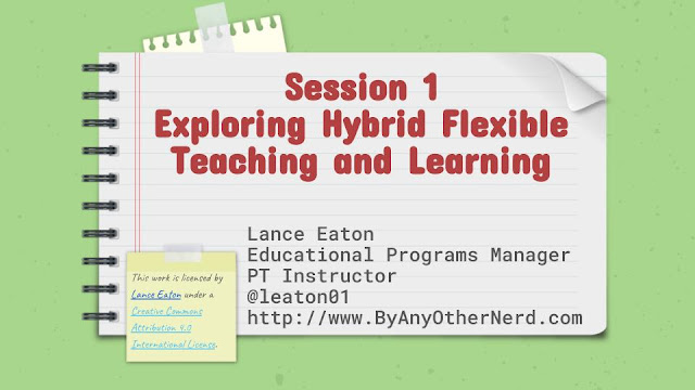 The first slide of Session 1 slide deck for a workshop on Hybrid Flexible Course Design. It includes Lance Eaton's contact information and the Creative Commons License