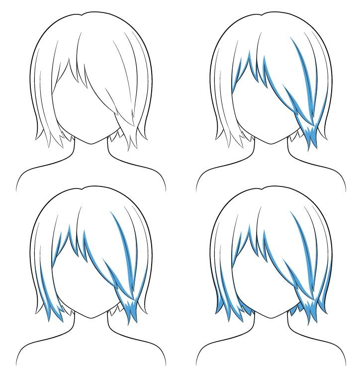 Rambut anime di atas satu langkah naungan mata