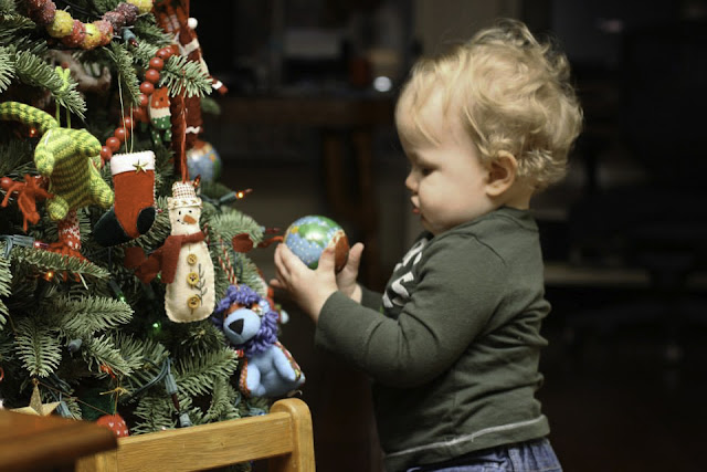 Child holding an ornamental bulb
