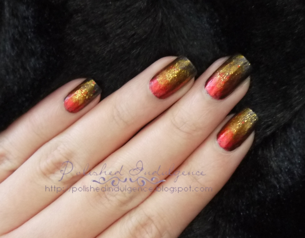 Polished Indulgence Nail Art Wednesday Fiery Flame Nails Inspired By The Hunger Games And The