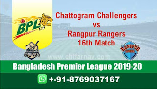 Today Match Prediction Rangpur vs Chattogram 16th Match BPL T20 Reports