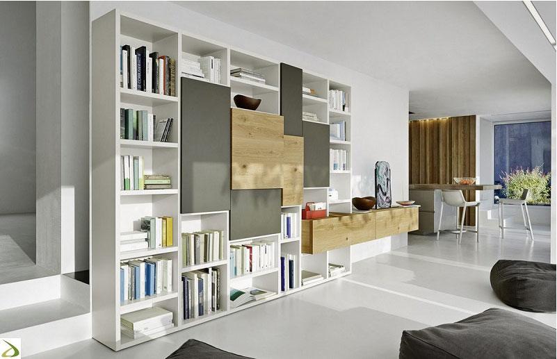 Il soggiorno moderno si arreda con le pareti attrezzate for Scrivania soggiorno